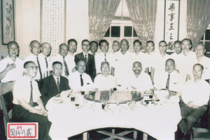 Taoist Master Liu Pei Ch'ung seated 3rd from right next to Grandmaster Cheng Man Ch'ing (4th from right), Taiwan 1950's or 60's